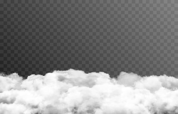 Wektor chmura lub dym na izolowanym przezroczystym tle chmura dymu mgła png