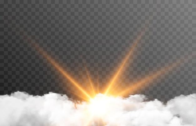 Wektor chmura ze słońcem świt wschód słońca promienie słońca chmura dymu mgła png
