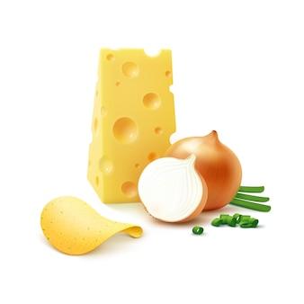 Wektor chrupiące chipsy ziemniaczane z serem i cebulą na białym tle