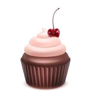 Wektor ciastko z różową bitą śmietaną i wiśnią z bliska na białym tle