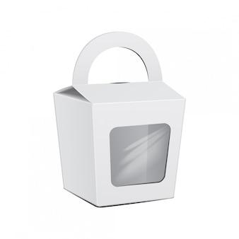 Wektor ciasto białe pudełko. na fast food, prezent.