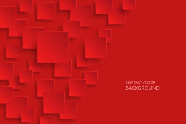 Wektor ciemnoczerwony nowoczesny streszczenie tło z przykładowy tekst. latający wzór kwadratu papieru mat z miękkimi cieniami. realistyczna ilustracja 3d.