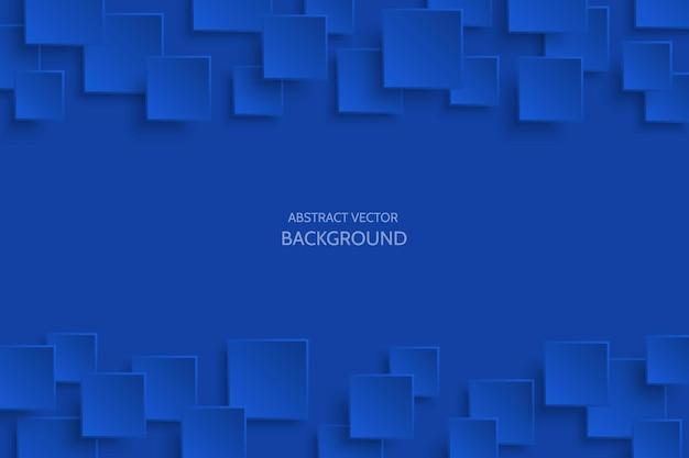 Wektor ciemny niebieski nowoczesny streszczenie tło z przykładowy tekst. latający wzór kwadratu papieru mat z miękkimi cieniami. realistyczna ilustracja 3d.