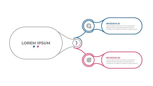 Wektor cienka linia infografika elementy szablonu projektu z 2 opcjami lub krokami