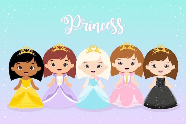 Wektor cute girl przebrany za księżniczkę