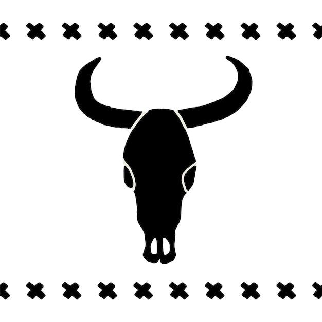 Wektor czarne czaszki bawół, byk lub krowa na białym tle. ręcznie rysowana grafika. symbol znaku dzikiego zachodu. czaszka krowy godło vintage z rogami.