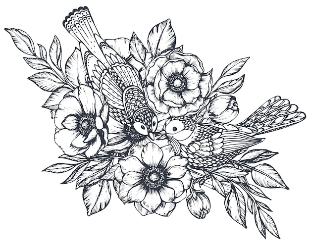 Wektor czarno-biała kompozycja kwiatowa ręcznie rysowane kwiaty anemonowe pąki liści i ptaków