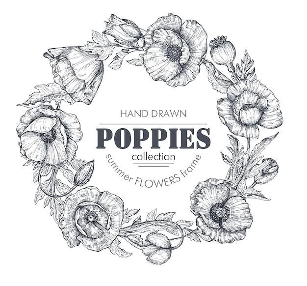 Wektor czarno-biały kwiatowy rama z bukietami ręcznie rysowane kwiaty maku, pąki i liście w stylu szkicu. piękny szablon zaproszeń, kart okolicznościowych.