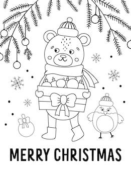 Wektor czarno-biały niedźwiedź w kapelusz i szalik z pudełkiem bombki i gałązki jodły. ładny zimowy ilustracja linia zwierząt. projekt śmieszne kartki świąteczne. szablon druku lub plakatu noworocznego