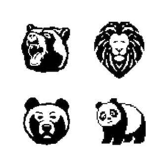 Wektor czarno-biały rysunek niedźwiedzia. pikselowa sztuka.