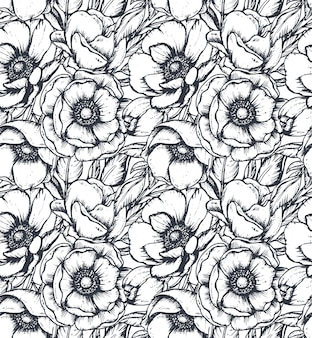 Wektor czarno-biały wzór z ręcznie rysowane anemonowe kwiaty, pąki i liście w stylu szkicu. piękne niekończące się tło.
