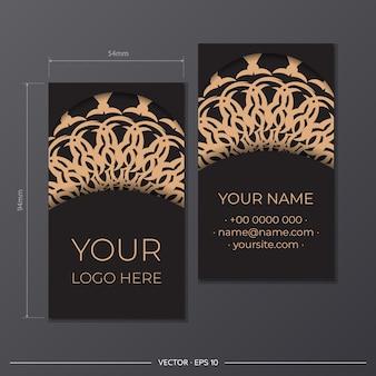 Wektor czarny kolor projekt wizytówki z greckimi wzorami. stylowe wizytówki z luksusowymi zdobieniami.