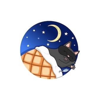 Wektor czarny kot śpi z myszką. noc, gwiazdy i półksiężyc.