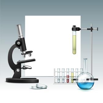 Wektor czarny metalowy mikroskop optyczny z przezroczystą szklaną płytką petriego, kolbą, probówkami z zieloną czerwoną cieczą, stojak laboratoryjny i copyspace na białym tle