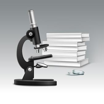 Wektor czarny metalowy mikroskop optyczny z szalką petriego i stos białych książek na białym tle