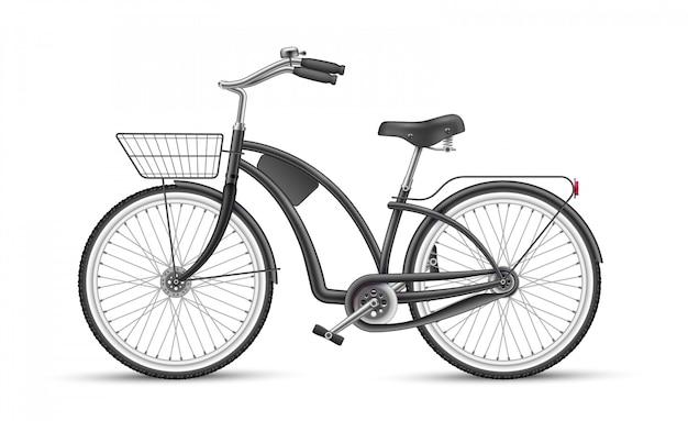 Wektor czarny rower realistyczne 3d na białym tle makieta