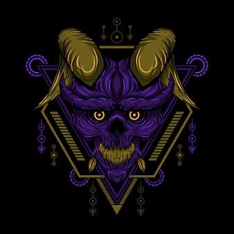 Wektor czaszka diabeł geometria