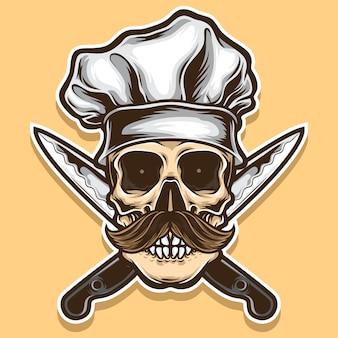 Wektor czaszki szefa kuchni