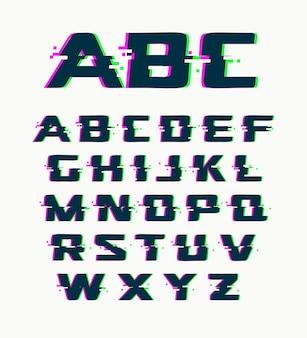Wektor czcionki glitch izolowane abstrakcyjne symbole z cyfrowym hałasem nowoczesny alfabet na białym tle