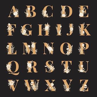 Wektor czcionki typografii kwiatowy alfabet