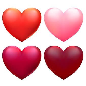 Wektor czerwone serca dla kart walentynkowych