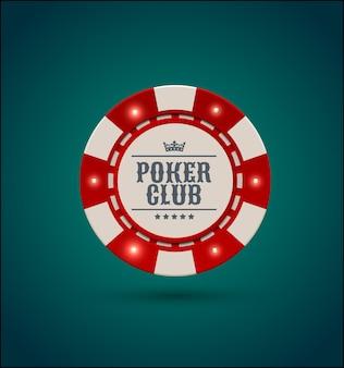 Wektor czerwony biały żeton pokera w kasynie z elementami świetlnymi światła. niebieskie zielone tło. tekst klubu pokera, baner blackjacka lub kasyna online, eps 10.