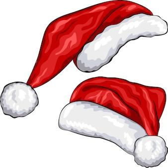 Wektor czerwony boże narodzenie santa claus kapelusze na białym tle