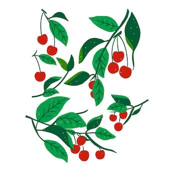 Wektor czerwony liść wiśni ilustracja zasób graficzny grafika cyfrowa