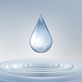 Wektor czysty błyszczący niebieski kropla z kręgami na wodzie z bliska widok z przodu