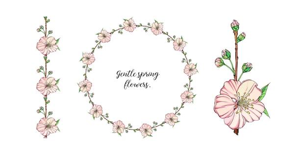 Wektor delikatny wiosenny kwiat układ