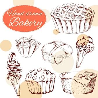 Wektor desery elementy w stylu wyciągnąć rękę. pyszne jedzenie. ilustracja sztuki. słodkie ciasto do projektowania w menu kawiarni, plakatach, broszurach