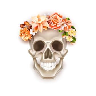 Wektor dia de los muertos dzień kwiat martwej czaszki