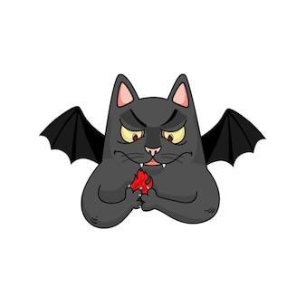 Wektor diabła kota z ogniem w łapach. zabawna postać ze skrzydłami nietoperza. halloweenowy projekt