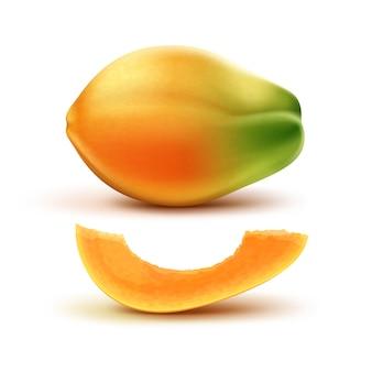 Wektor dojrzałe pomarańczowe, zielone całe i cięte papaja na białym tle