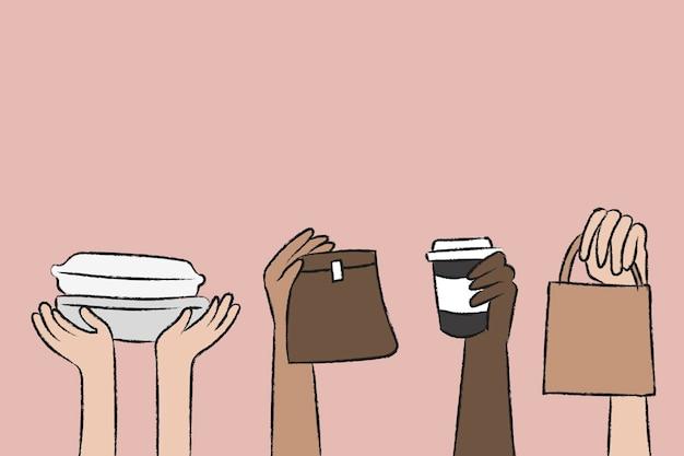 Wektor doodle dostawy żywności z ekologicznymi opakowaniami
