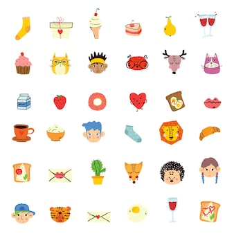 Wektor doodle słodkie zwierzę, twarze ludzi, smaczne jedzenie w prostym projekcie dla projektu karty z pozdrowieniami dla dzieci, nadruk na koszulce, plakat inspiracji.