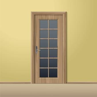 Wektor drewna zamknięte drzwi z ramą na białym tle
