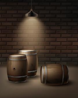 Wektor drewniane beczki na wino w piwnicy winiarskiej na białym tle na tle ściany cegieł
