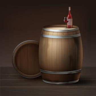 Wektor drewniane beczki wina winogronowego z butelką i kieliszkiem na białym tle na brązowym tle