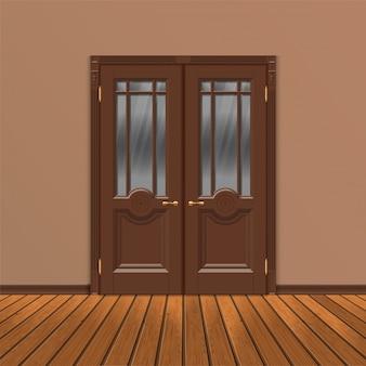 Wektor drewniane podwójne wejście drzwi