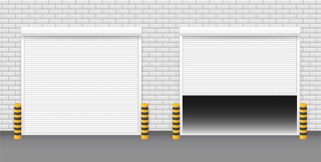 Wektor drzwi z roletami na białym tle. ilustracja wektorowa.