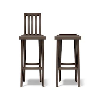 Wektor dwa ciemnobrązowe drewniane stołki barowe widok z przodu na białym tle