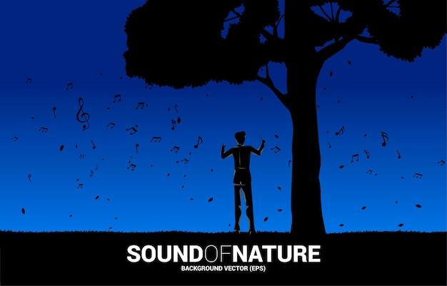 Wektor dyrygent orkiestry muzycznej z wielkim drzewem. koncepcja tło dla muzyki na czas naturalny i wiosenny.