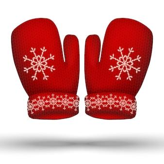 Wektor dzianinowe zimowe czerwone rękawiczki. pojedynczo na białym tle.