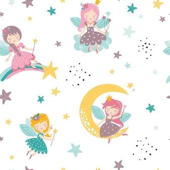 Wektor dziecinny wzór z bajki jednorożca gwiazdy kwiaty tęczy i inne elementy