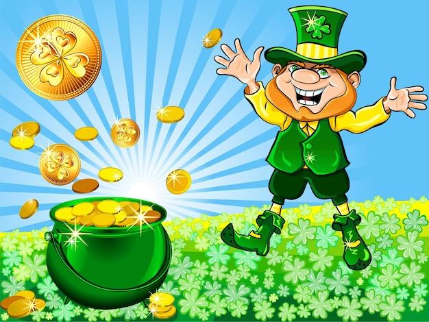Wektor dzień świętego patryka szczęśliwy krasnoludek tańczy z garnkiem złotych monet na łące koniczyny w su...