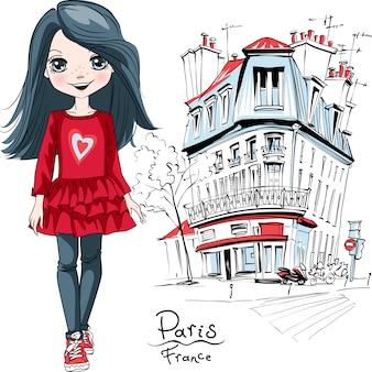 Wektor dziewczynka w paryżu