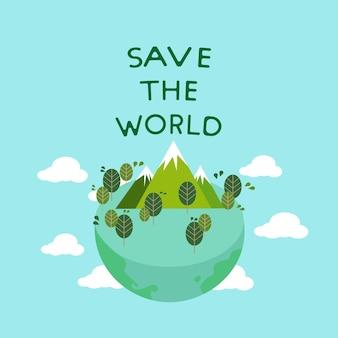Wektor eco przyjazny świat, uratować ziemię.