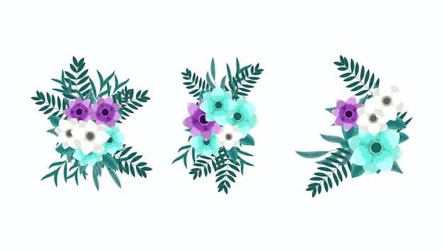 Wektor, edytowalny kwiatowy bukiet układ ilustracja kolekcja. stylowe, eleganckie kwiaty ogrodowe, urocza zieleń. pojedyncze aranżacje elementy projektu na wesela, tekstylia, tkaniny, ubrania