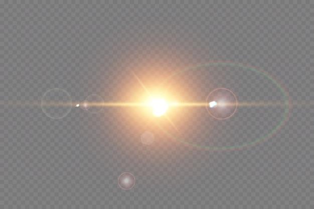 Wektor efekt świetlny z przezroczystym światłem słonecznym specjalny obiektyw pochodni.